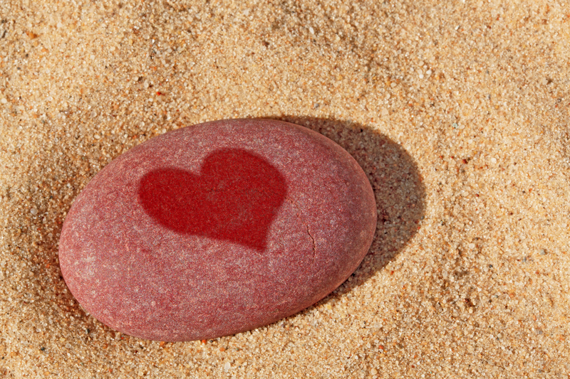 heart on red stone